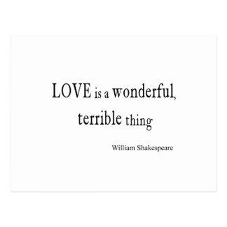 Cartão Postal O amor de William Shakespeare é maravilhoso e