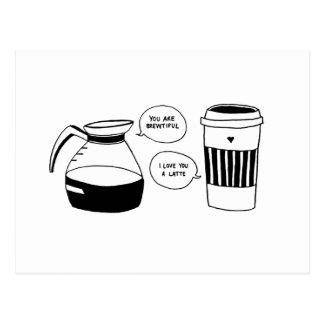 Cartão Postal O amor dos namorados de Latte do café