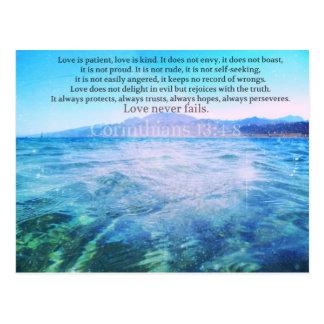 Cartão Postal O amor é paciente, amor é verso da bíblia de Kind