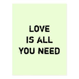 """Cartão Postal O """"amor é tudo que você precisa """""""