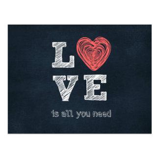 Cartão Postal O amor é tudo que você precisa citações