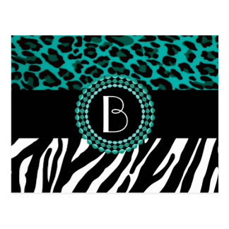 Cartão Postal O animal à moda imprime padrões da zebra e do