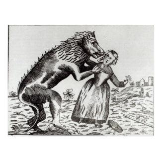 Cartão Postal O animal de Gevaudan que ataca uma rapariga