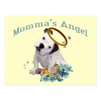 Cartão Postal O anjo de Momma americano do buldogue