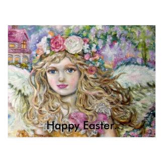 Cartão Postal O anjo do marisco da pérola., Easter. feliz
