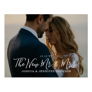 Cartão Postal O anúncio da foto dos Newlyweds ou agradece-lhe