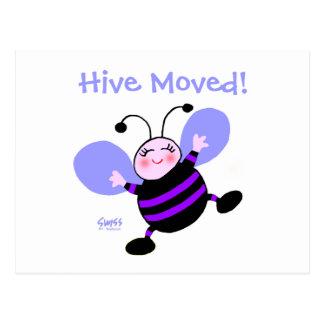 Cartão Postal O anúncio movente da mulher bonito da abelha dos