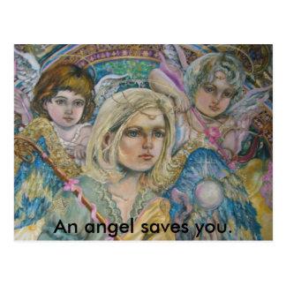 Cartão Postal O arcanjo Mikhail e os anjos., um anjo salvar o