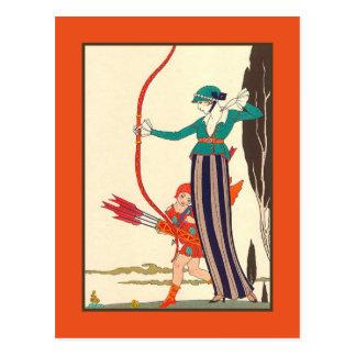 Cartão Postal O arqueiro da mulher