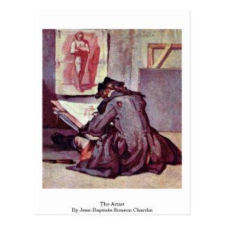 Cartão Postal O artista por Jean-Baptiste Simeon Chardin