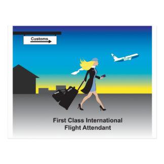 Cartão Postal ø Assistente de voo internacional da classe