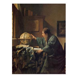Cartão Postal O astrónomo por Johannes Vermeer