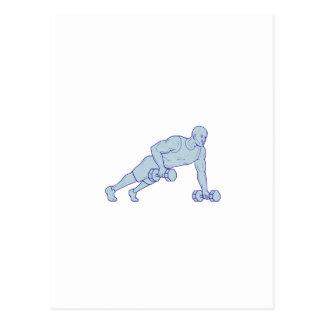 Cartão Postal O atleta da malhação levanta um desenho do