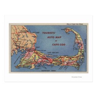 Cartão Postal O auto mapa dos turistas de Cape Cod