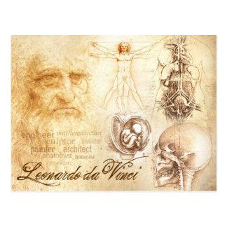 Cartão Postal O Auto-retrato e os estudos anatômicos de da Vinci