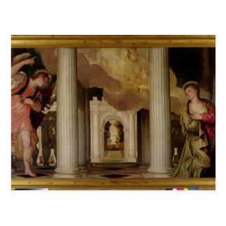 Cartão Postal O aviso, c.1551-53 (óleo em canvas)
