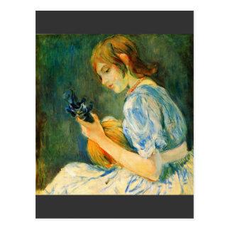 Cartão Postal O bandolim por Berthe Morisot