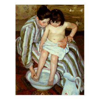 Cartão Postal O banho da criança de Mary Cassatt (cerca de 1892)