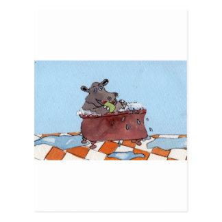 Cartão Postal O banho do hipopótamo de Humphrey por Sue