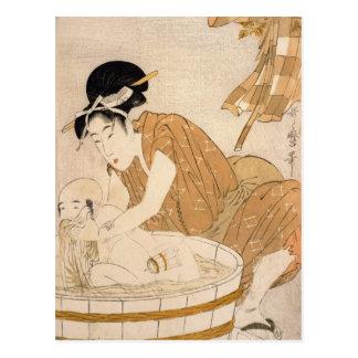Cartão Postal O banho, período de Edo