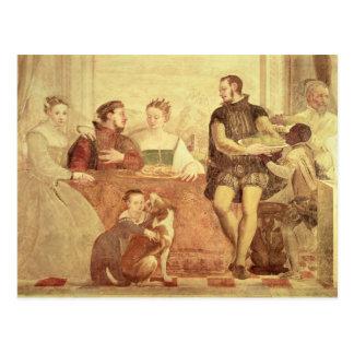 Cartão Postal O banquete, detalhe de figuras na mesa, 1570