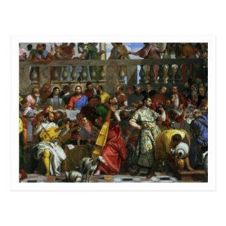 Cartão Postal O banquete do casamento em Cana, detalhe de