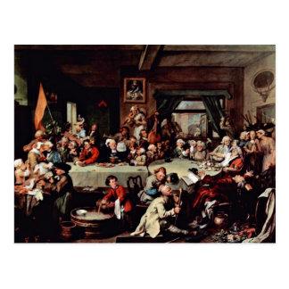 """Cartão Postal O banquete"""" por Hogarth William (a melhor"""
