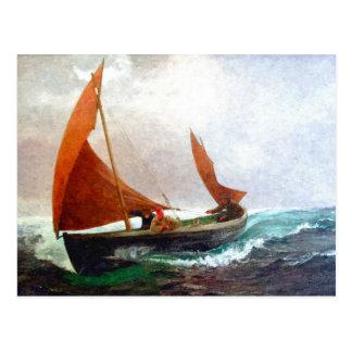 Cartão Postal O barco alcança a praia