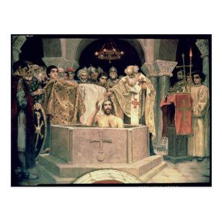 Cartão Postal O batismo do duque grande Vladimir, 1885-96