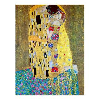 Cartão Postal O beijo por Gustavo Klimt, arte Nouveau do vintage