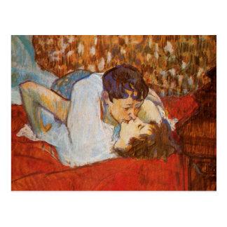 Cartão Postal O beijo por Toulouse-Lautrec