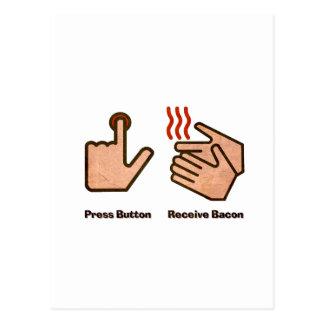 Cartão Postal o botão da imprensa recebe o bacon