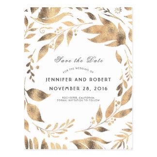 Cartão Postal O branco e a grinalda das folhas do ouro salvar a