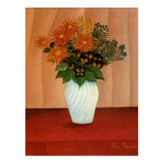 Cartão Postal O buquê de Henri Rousseau das flores (cerca de