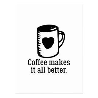 Cartão Postal O café fá-lo toda melhor