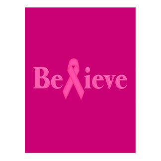 Cartão Postal O cancro da mama cor-de-rosa da fita acredita