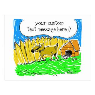 Cartão Postal o cão diz algo desenhos animados engraçados