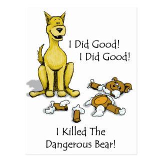 Cartão Postal O cão matou o urso