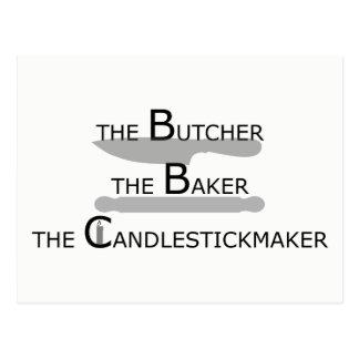 Cartão Postal O carniceiro o padeiro o Candlestickmaker