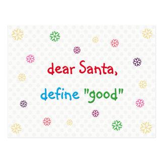 Cartão Postal O caro papai noel engraçado define o bom Natal do