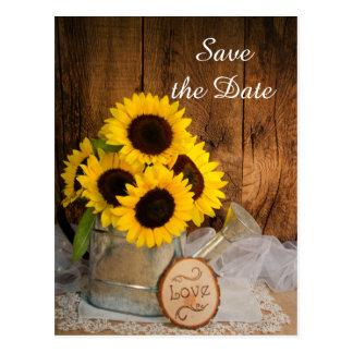 Cartão Postal O casamento dos girassóis e molhar da lata salvar