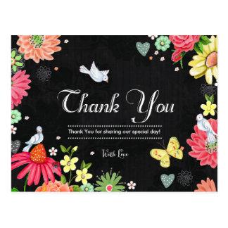 Cartão Postal O casamento floral brilhante do quadro agradece ao