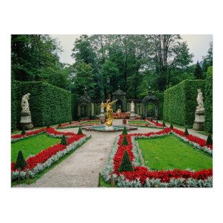 Cartão Postal O castelo vermelho de Lindenhof, Baviera, Alemanha