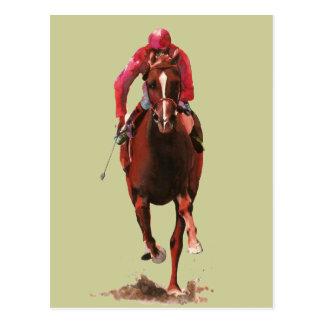 Cartão Postal O cavalo e o jóquei