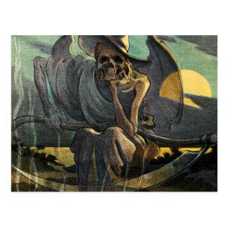 Cartão Postal O Ceifador espera com Scythe