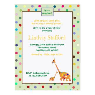 Cartão Postal O chá de fraldas dos girafas dos pontos de Polks