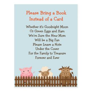 Cartão Postal O chá de fraldas traz um tema do animal de fazenda