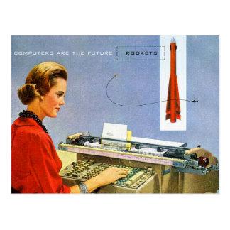 Cartão Postal O computador retro do kitsch do vintage é o