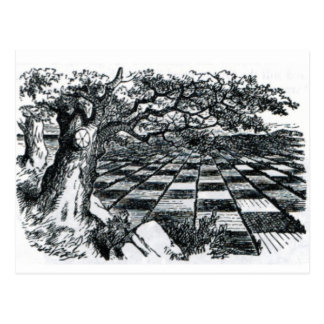 Cartão Postal O conselho de xadrez no país das maravilhas