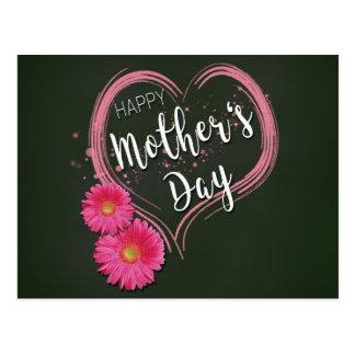 Cartão Postal O coração cor-de-rosa floresce o dia das mães -